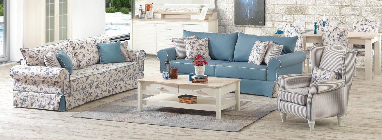 çiçekli mavi koltuk takımı