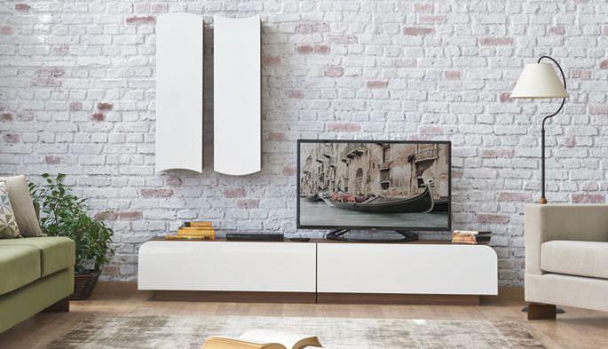 modern beyaz tv ünite