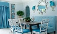 Mavi renk ile daire dekorasyon kombinleri