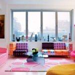 living room design pink interiors