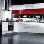 beyaz kırmızı mutfak dolapları