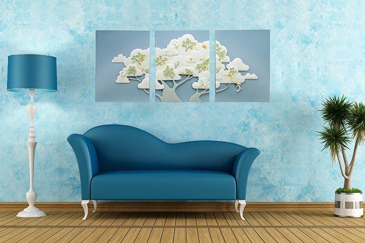 canlı renkle dekorasyon mavi renk