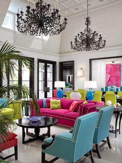 canlı renkli salon dekorasyon