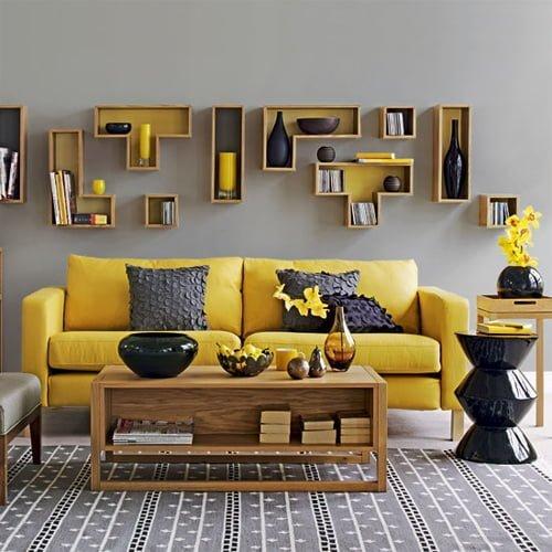 sarı gri renk kombinli dekorasyon