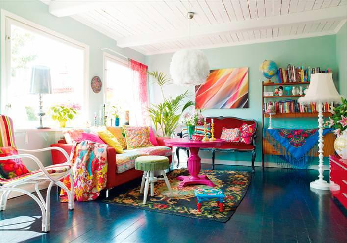 parlak canlı renkli dekorasyon
