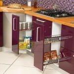 lila mutfak tasarımı Mutfak dekorasyon ve depolama fikirleri