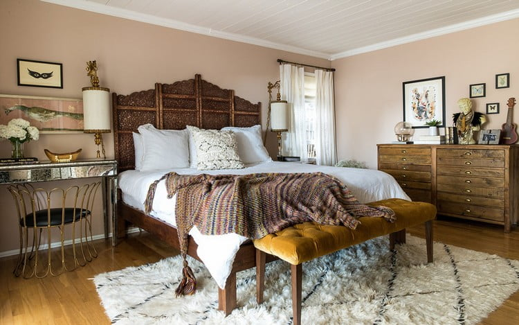 bohem yatak odası dekorasyon