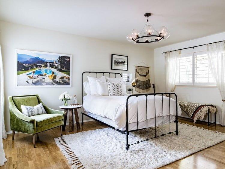 bohem tarzı dekorasyon yatak odası modeli