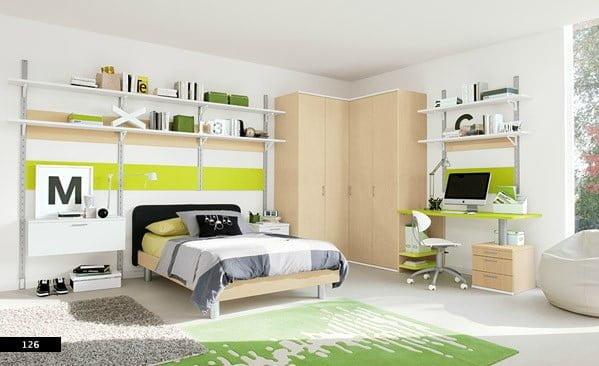 pseudo-industrial-chic-kids-bedroom Renkli yeni tasarım genç odası modelleri