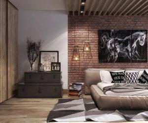 Tuğla Duvarlara Sahip Yatak Odaları