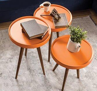 yuvarlak üçlü sehpa enza mobilya ahşap yan ve orta sehpa modelleri