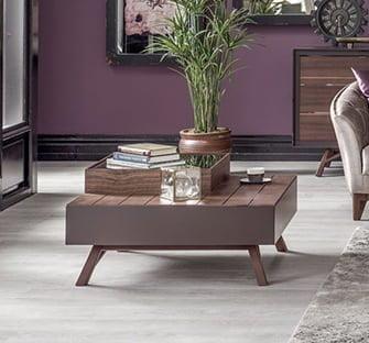 kare kahverenk sehpa enza mobilya ahşap yan ve orta sehpa modelleri