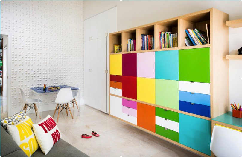 renkli çocuk odası dolap