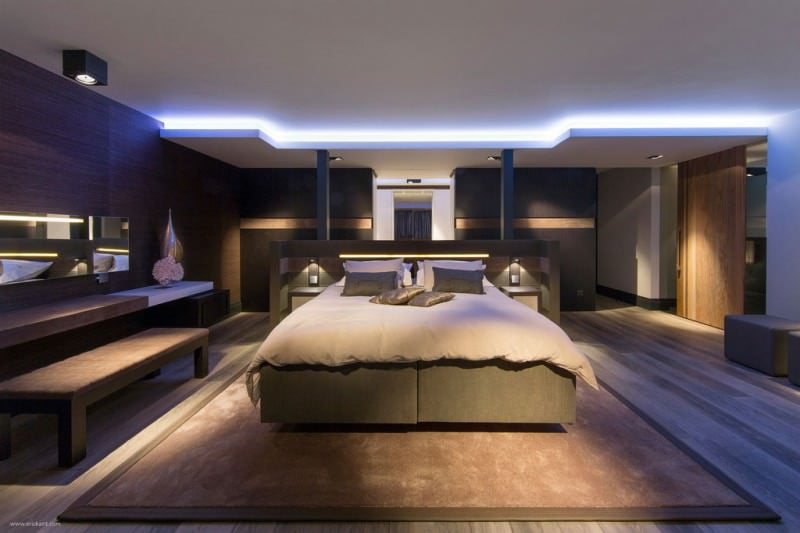 modern aydınlatmalı yatak odası dekorasyon
