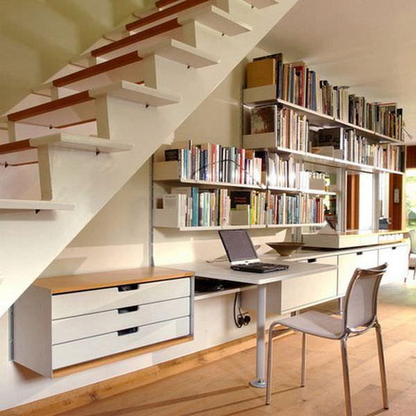 merdiven altı raf sistemi