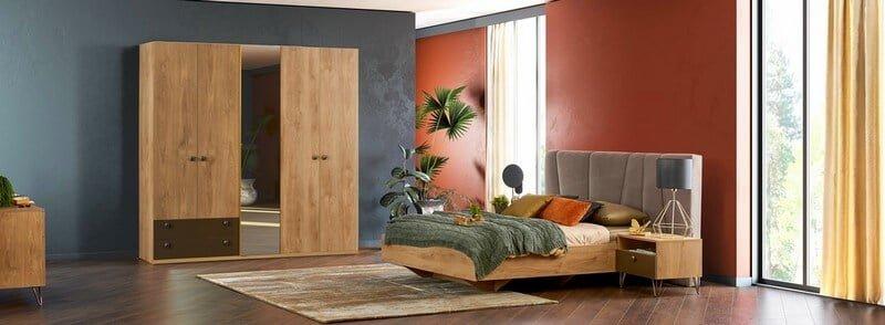 alfemo mobilya meşe renkli yatak odası