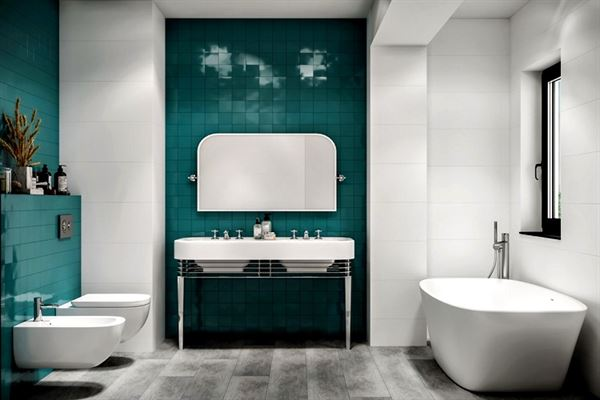 yeşil fayanslı banyo dekorasyon