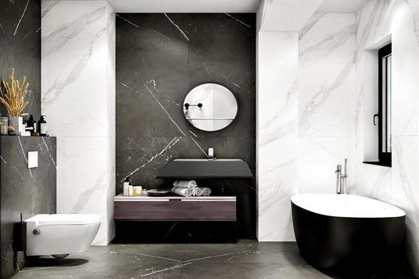 siyah beyaz banyo dekorasyon
