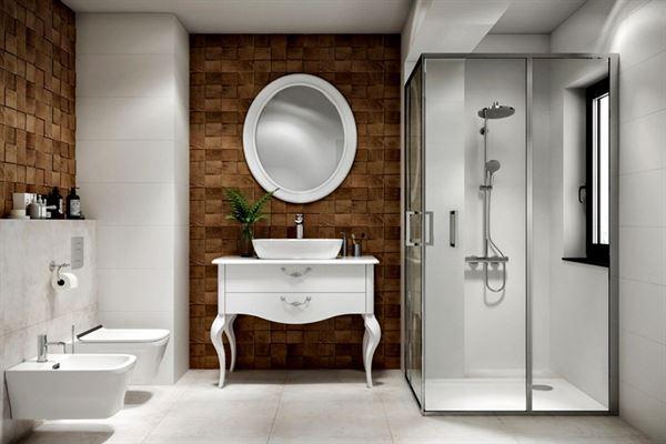 taş desenli banyo dekorasyon