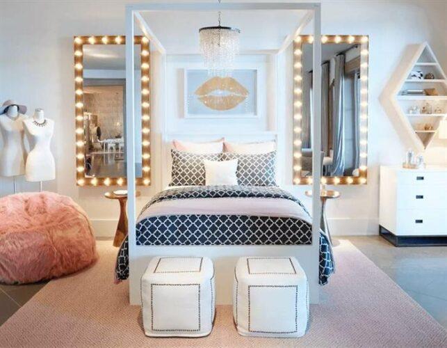genç kız yatak odası dekorasyon