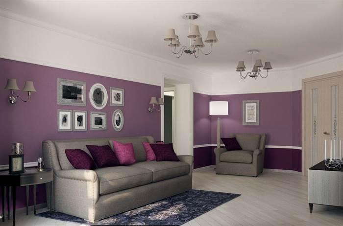lila renkli oturma odası dekorasyonları