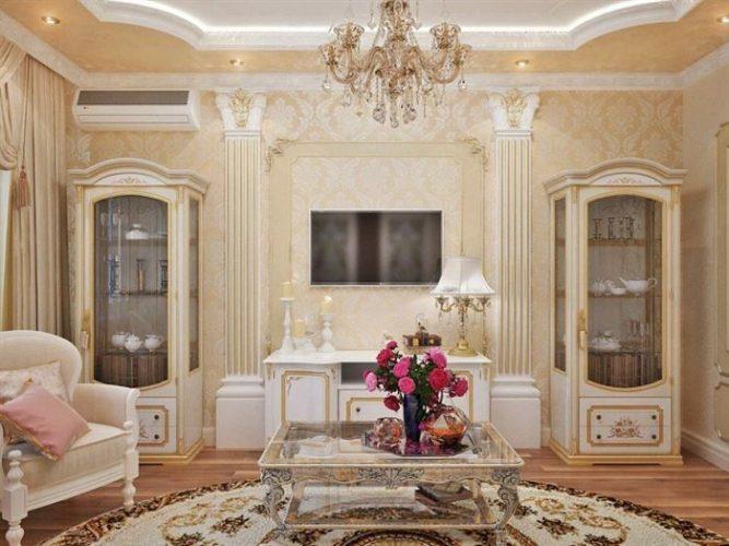 klasik mobilyalı oturma odası dekorasyon